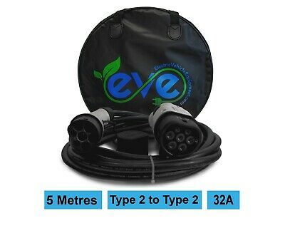 Electric Car/EV Charging Cable, Volkswagen e-golf, 32A, Type 2 to Type 2, 5m