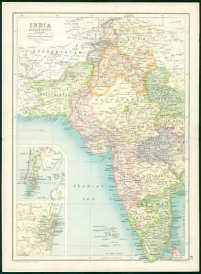 1912 Original Colour Antique Map  - INDIA WESTERN  SECTION MADRAS BOMBAY   (41)