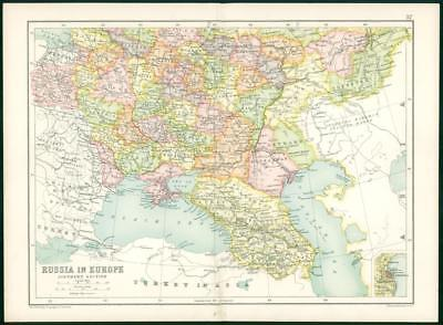 1912 Original Colour Antique Map  - RUSSIA EUROPE SOUTHERN SECTION    (35)