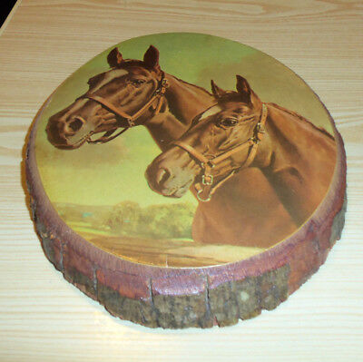 Blue Grass Champs ( Horses ) -  X 74 -  Wood Slab with Bark Print -