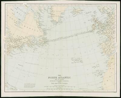 1868 - Original Colour Antique Map of NORTH ATLANTIC USA GREENLAND (FC46)