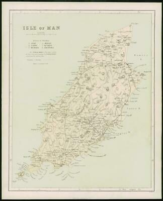 1868 - Original Colour Antique Map of ISLE OF MAN by W Hughes (FC42)