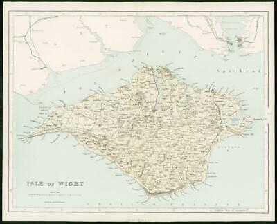 1868 - Original Colour Antique MAP of ISLE OF WIGHT Hampshire by W Hughes (FC59)