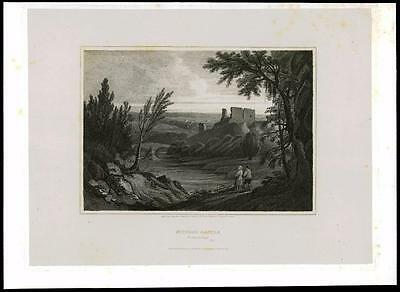 1814 NORTHUMBERLAND - MITFORD CASTLE Morpeth - Large Original Antique Print (20)