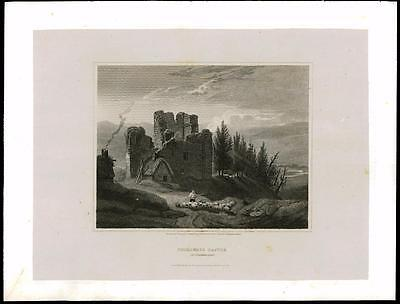 1814 NORTHUMBERLAND - THIRLWALL CASTLE Hexham Large Original Antique Print (28)