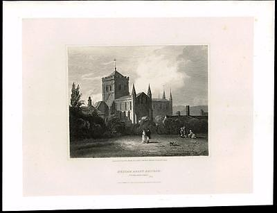 1814 NORTHUMBERLAND - HEXHAM ABBEY CHURCH - Large Original Antique Print (26)