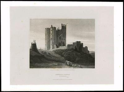 1814 NORTHUMBERLAND BOTHALL CASTLE BOTHAL Morpeth Large Original Antique Print