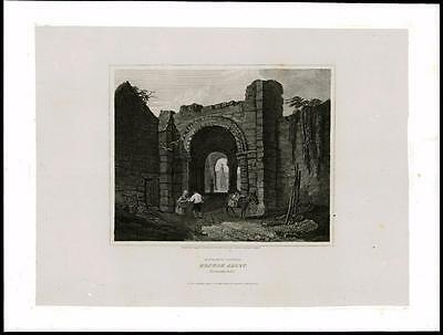 1814 NORTHUMBERLAND - ENTRANCE HEXHAM ABBEY - Large Original Antique Print (27)