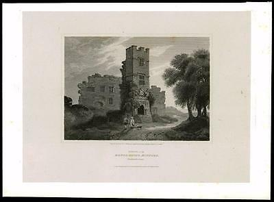 1814 NORTHUMBERLAND - MANOR HOUSE  MITFORD - Morpeth Large Antique Print (22)