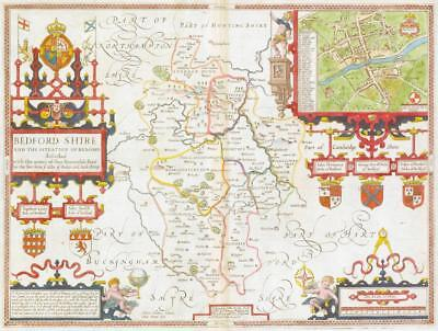 1676 Original Antique Map - BEDFORDSHIRE by John Speed Bassett & Chiswell