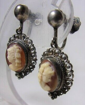 Antique Art Deco Fine 800 Sterling Silver Carved shell Victorian Lady Earrings