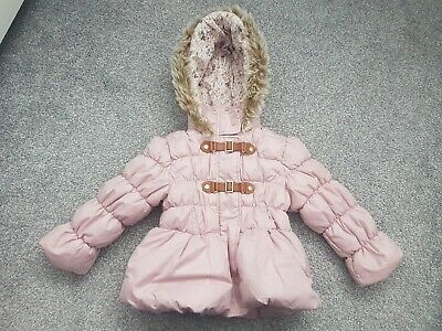 *Next Girls Age 2/3 Years Pink Soft Fleece Lined Hooded Winter Coat*