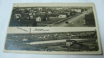 ANTIQUE EARLY 1900s BIRDS EYE VIEW SOUTHSIDE GLASCOW MONTANA PHOTO POSTCARD