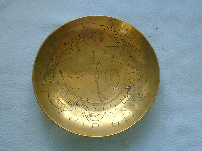 Vintage Large Chinese Brass Ornate Footed  Bowl With Central Caligraphy