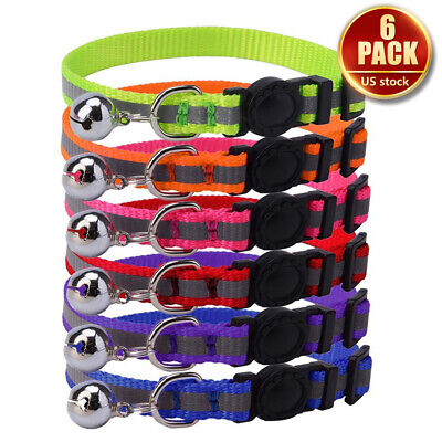 Breakaway Cat Collar w/ Bell 6 Pcs Safety Quick Release Mixed Colors Reflective