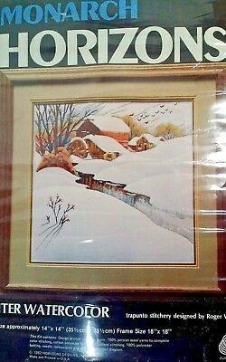 Winter Watercolor 1982 Roger Reinardy  Water Mill CR36 14 X 14 inch  Kit New