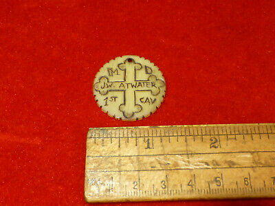 Rare Engraved Steer Horn Token Dog Tag W/ Confederate Used Maryland Cross Symbol