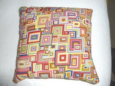 FAB! Ehrman Kaffe Fassett overlapping squares hand worked wool tapestry cushion