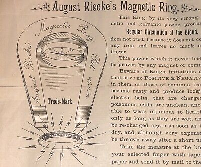 AUGUST RIECKE'S MAGNETIC RING CURES RHEUMATISM RESTORES CIRCULATION c 1900 ADV