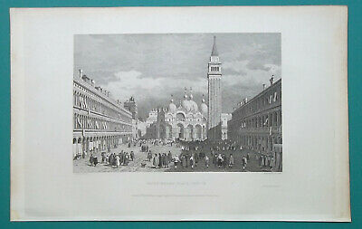 ITALY Venice St. Mark's Place Plaza - 1831 Antique Print Engraving