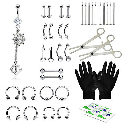 36PC Piercing Kit Pave Disk Belly Rings Tongue Tragus Eyebrow Nipple Lip Nose