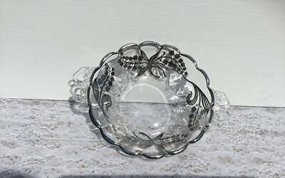 Vintage Sterling Silver Overlay Handled Glass Dish or Bowl Lily of the Valley