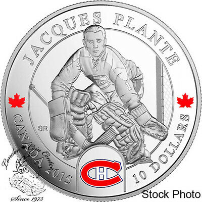 Canada 2015 $10 Goalies: Jacques Plante Montreal Canadiens NHL Silver Coin