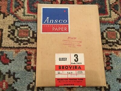 5x7 ANSCO Photographic Paper BROVIRA Gloss 3 - Code 7433 -  12 Sheets - Unopened