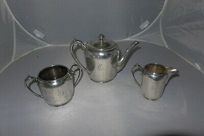 Antique silver plate W&H Walker & Hall Sheffield tea pot sugar bowl milk jug CR