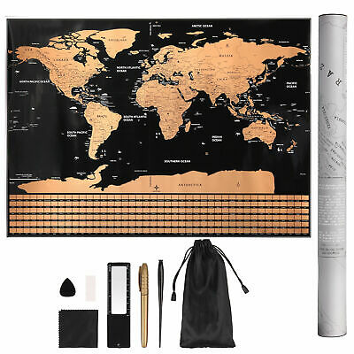 Large Scratch Off World Map Deluxe Edition Travel Log Journal Poster Wall Decor