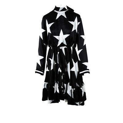 MSGM NWT Black & White Silk Satin Star Print Dress SZ 42