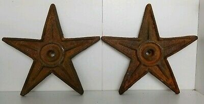 "ANTIQUE ARCHITECTURAL DECORATIVE CAST IRON 9"" STAR WALL ANCHOR PLATE set of 2"