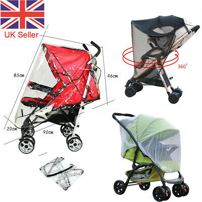 Stroller Pushchair Pram Mosquito Fly Insect Net Mesh Buggy Rain Cover For Baby