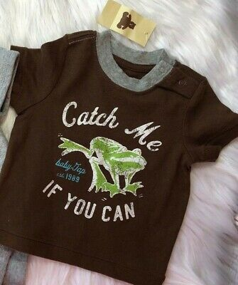 """NWT Baby Gap Boys 0-3 Months Brown Frog Shirt """"Catch Me If You Can"""""""