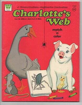 Whitman  Charlotte's Web  Match N Color Book  1973  Uncolored  1262  Hb