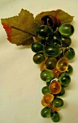 Vintage Unusual Small Graduated Lucite Grape Cluster Retro Champagne/green