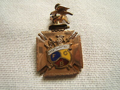 Masonic Gold Filled Watch Fob Enameled Knights Of Pythias