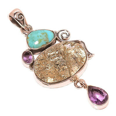 Gift For Love!! Sterling Silver GOLDEN PYRITE DRUZY TURQUOISE Pendant G627