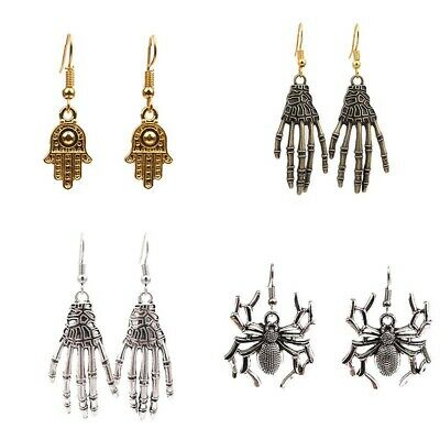 Vintage Halloween Earring Carved Bone Skull Skeleton Hands Earrings Punk Jewelry