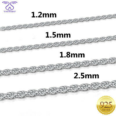 SEMAID 1.2 1.5 1.8 2.5mm 925 Sterling Silver Necklace Prince of Wale Chain 16-22