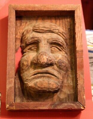 Hand Carved Old Man Face Wood Spirit Carving Figure Folk Art 11.5 inches Vintage