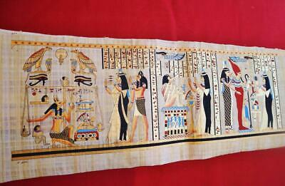 "Huge Signed Handmade Papyrus Egyptian_HEART CEREMONY_Art Painting 32""x12"" Inches"