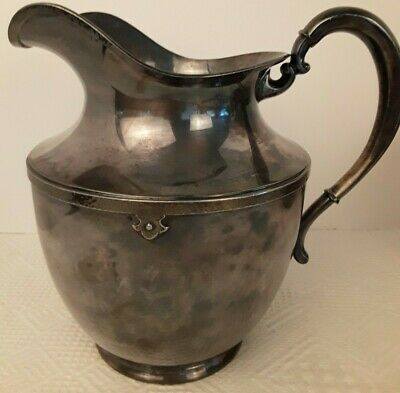 "Vtg Water PITCHER Wilcox S.P. Co. International Silver Co. Hammered Detail ""DRW"""