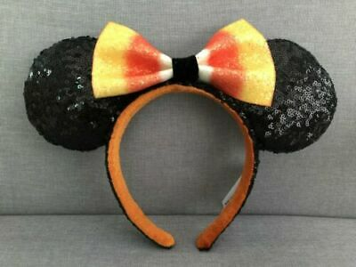 Disney Parks Halloween Candy Corn Minnie Ears With Bow Headband 2019