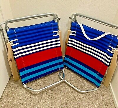 2 Rio 5 Position Lay Flat Aluminum Beach Lounge Chairs Pair Excellent Condition