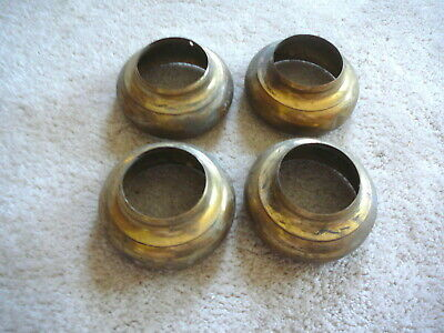 "SET of FOUR ANTIQUE SALVAGED BRASS BED SPACERS SKIRTS - 3-1/2"" x 1-5/8"" - GOOD"