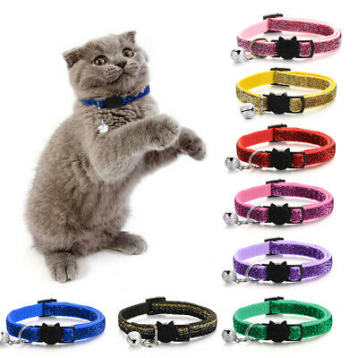 Pet Cat Collar With Bell Fashion Adjustable Sequin Puppy Collar Neck Strap