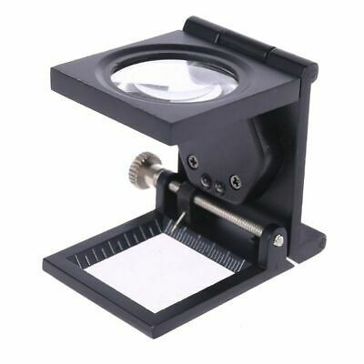 Double LED Light Optical Glass Lens Black Spray Paint Magnifying Glass Mirror x1