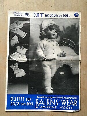 "Vintage 30's Knitting Pattern, Outfit, 20/21"" Doll, Dress, Jacket, Hat etc. 3ply"