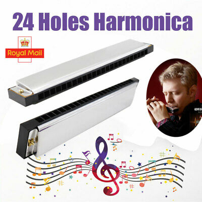 24 Hole Harmonica Key C Metal Organ Melodica Pianica For Beginners With Box UK